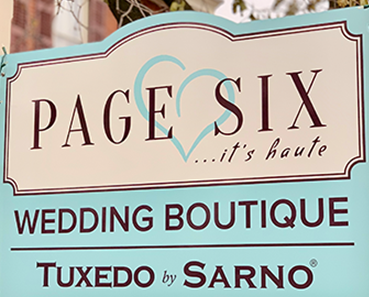 image of page six wedding boutique sign